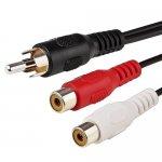 Cable Adaptateur audio RCA en Y 1 mâle 2 femelles 0.26m