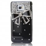 Coque Pour Samsung Galaxy S2 I9100 Noeud Diamond Strass Noir