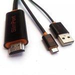 Câble Adaptateur SlimPort HDMI pour LG Google Nexus 4 / LG G2 / Fujitsu, Support HD TV 1080 & 3D 2m