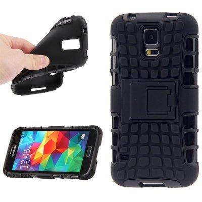 Coque bi-matière silicone et plastique avec support Pour Samsung Galaxy S5 I9600